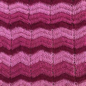 "Crochet Pink Chevron Zig Zag Blanket 48"" x 77"""